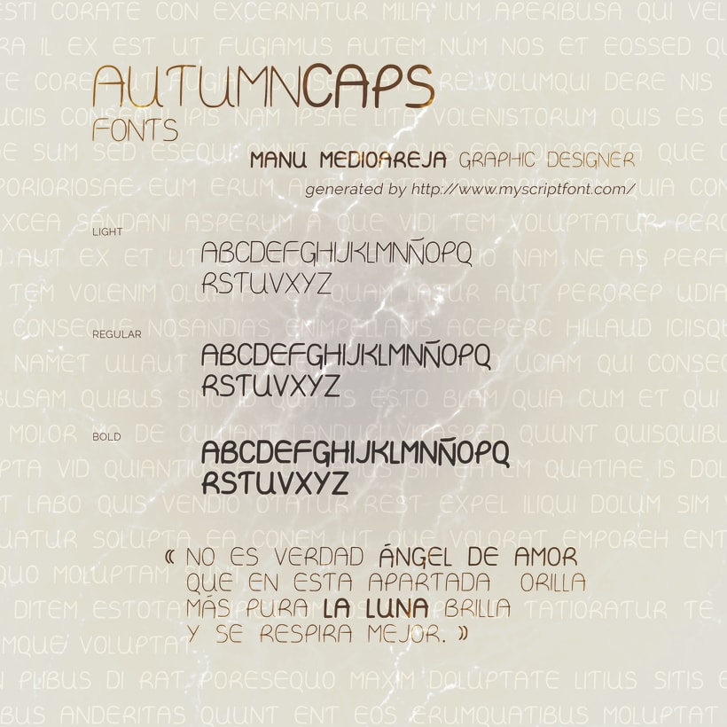 Autumn Caps font design by Manu Mediaoreja 0