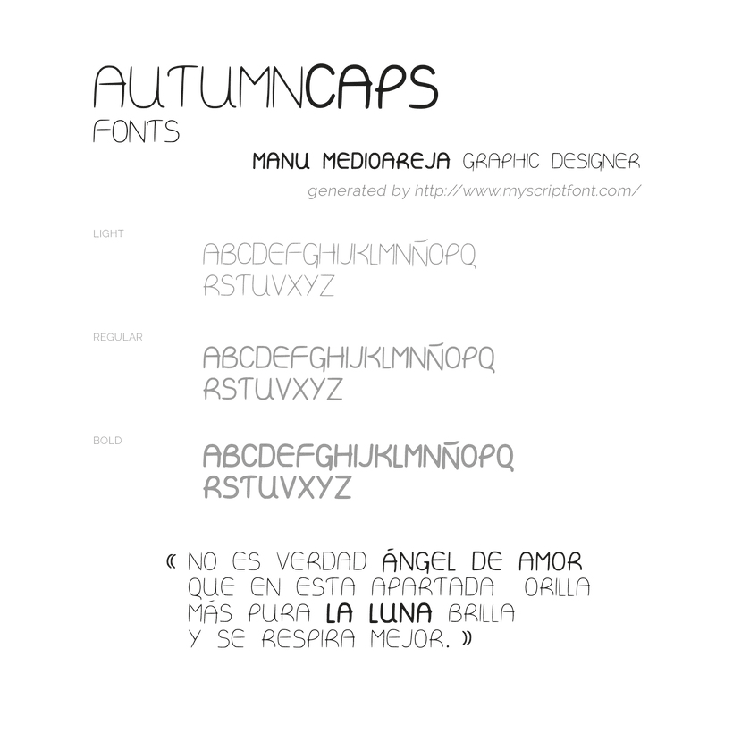Autumn Caps font design by Manu Mediaoreja 1
