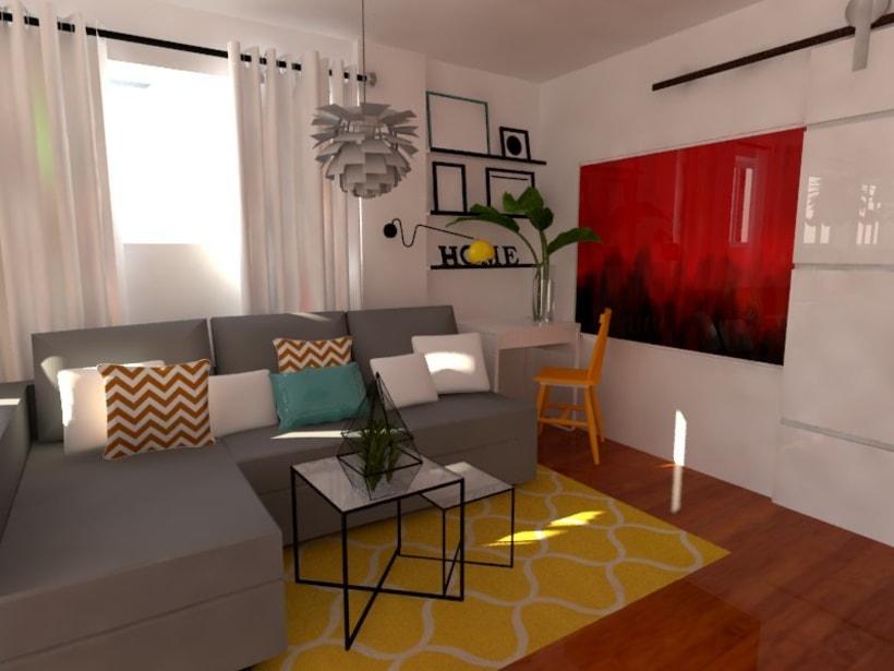 Reforma de vivienda sal n con cocina americana domestika for Interiores de viviendas