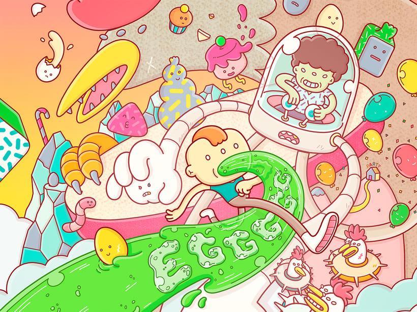 Egggggg, un juego para iOS y Android ilustrado por Brosmind 1