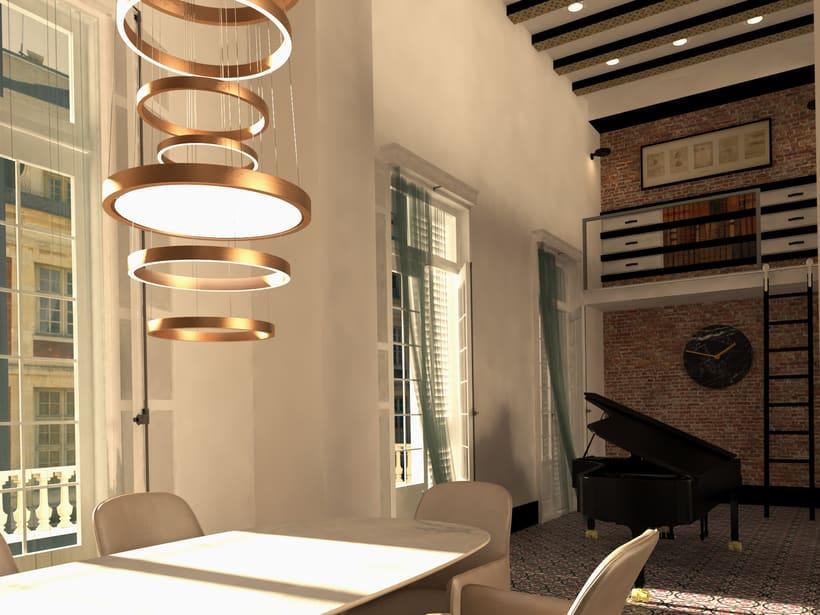 Proyecto realizado en París, al lado del río Sena. Se trata de un proyecto de rehabilitación integral de un loft del 1921, estilo modernista con un aire ecléctico. 6