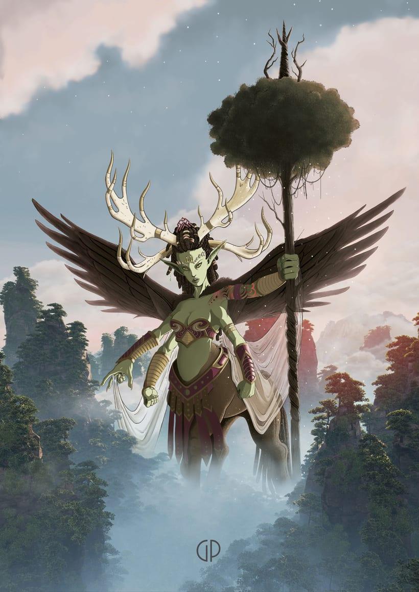"""""""Dadiana, Diosa de los bosques, resurge de las primeras luces del alba cada 1.000 años para sanar y purificar los vastos pulmones de la Tierra. Sí ella aparece, también lo hace la vida"""" -1"""