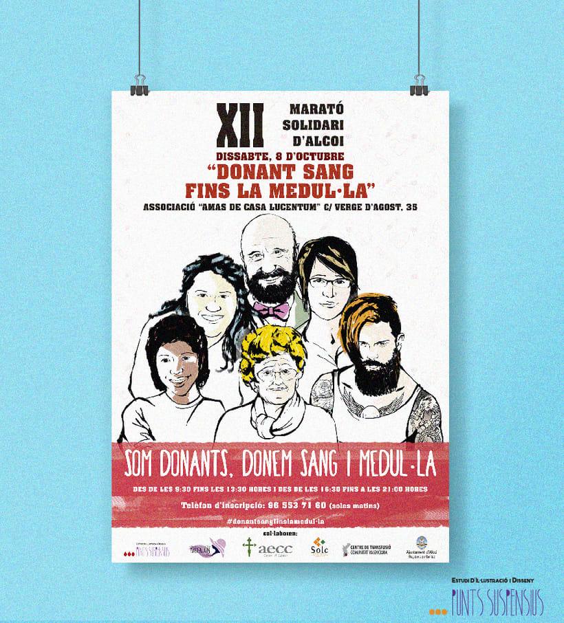 """Campaña maratón solidaria de la ciudad de Alcoi """"Donan't sang fins la medul·la""""  0"""