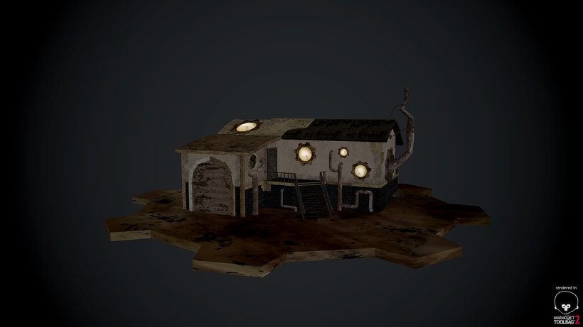 Steampunk House Low Poly 0