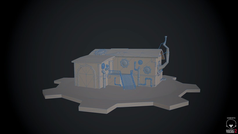 Steampunk House Low Poly 1