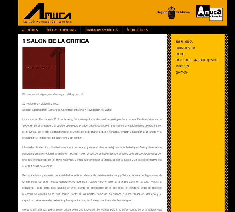 web AMUCA, Asociación Murciana de Críticos de Arte -1