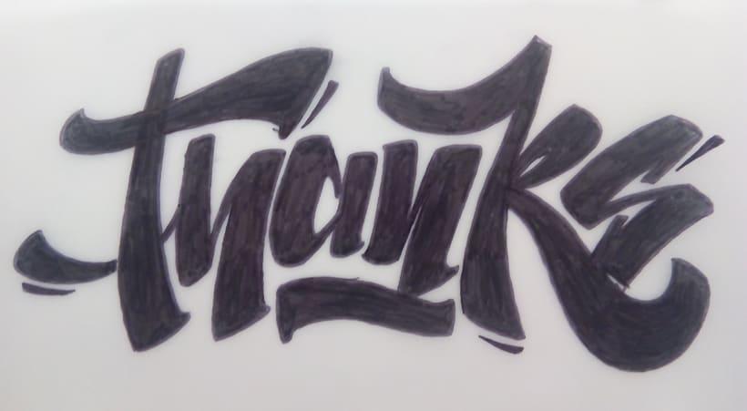 """Thanks"" lettering -1"