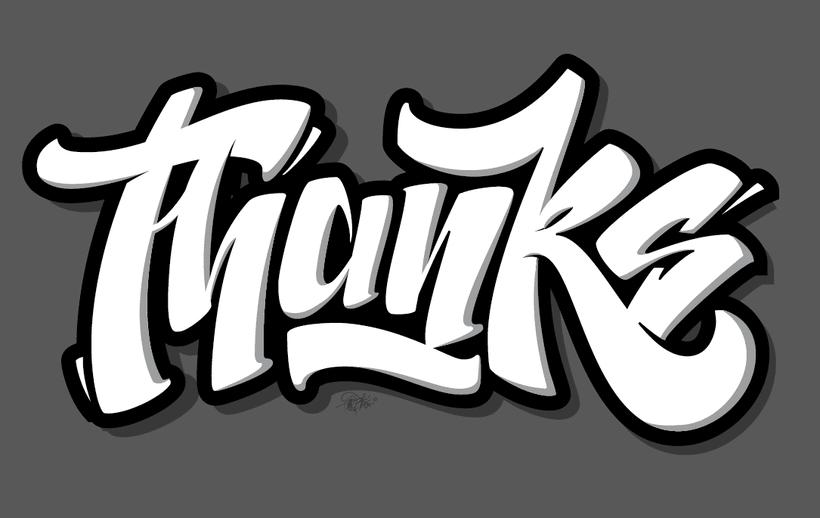 """Thanks"" lettering 1"