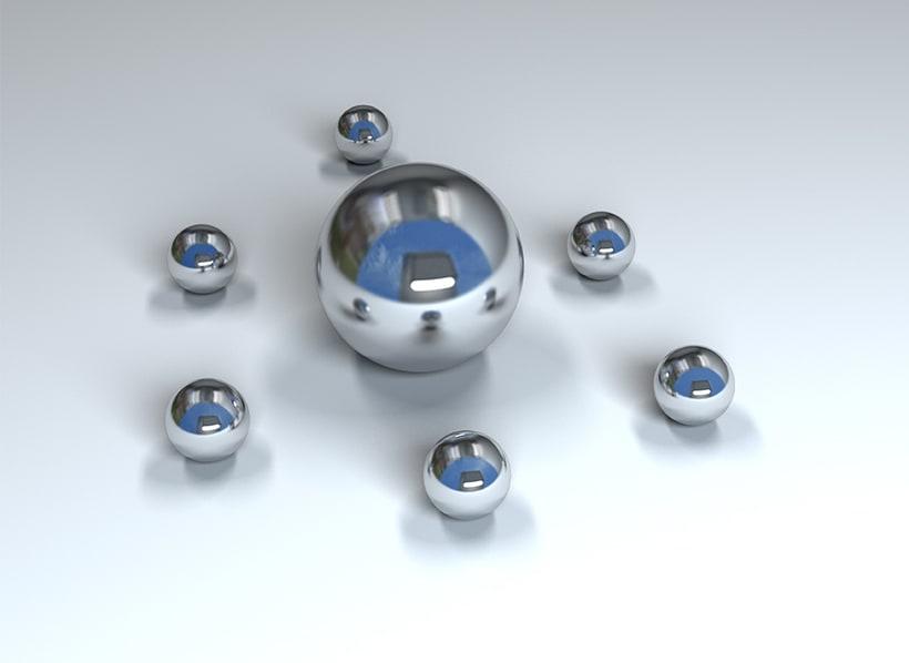 Ilustración Bolas metálicas - Autodesk 3ds Max 4