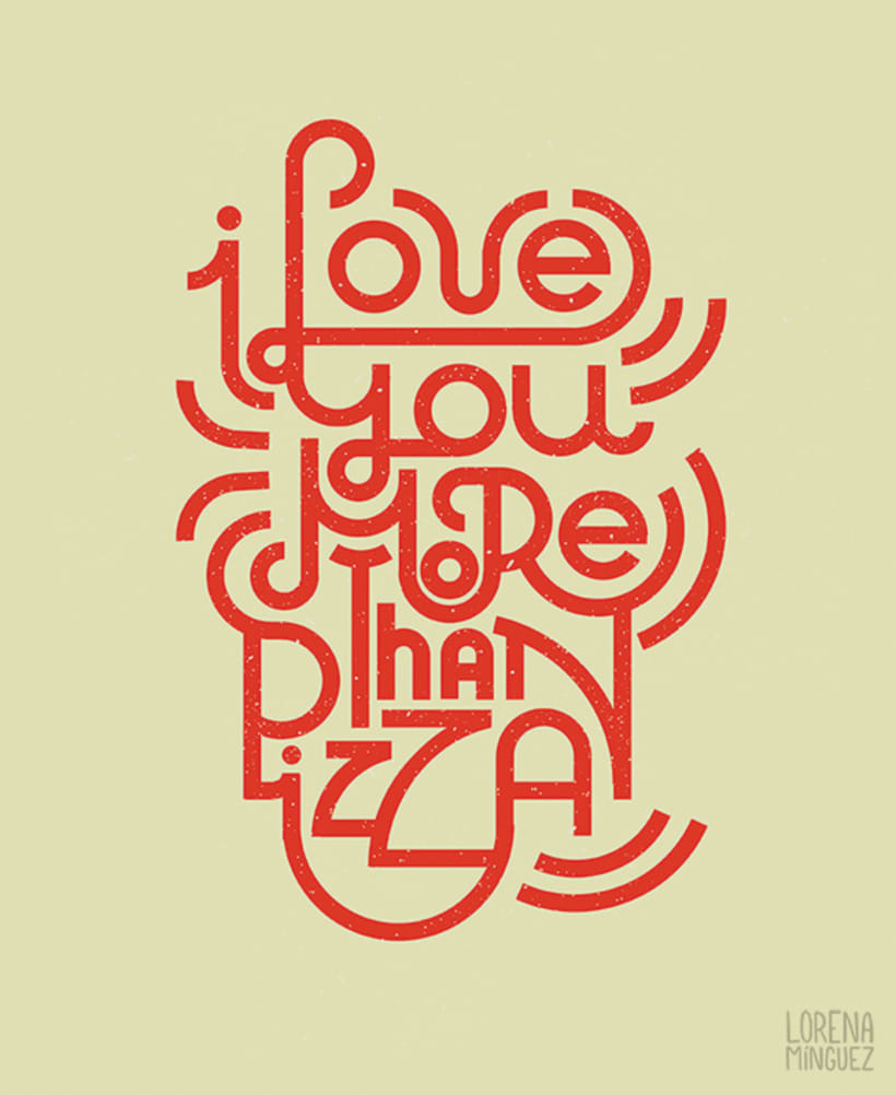 "Lettering ""I love you more than pizza"" 0"