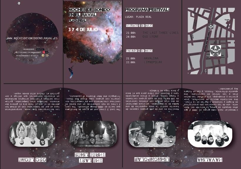 Cartel Festival música y tríptico seis pliegues 1