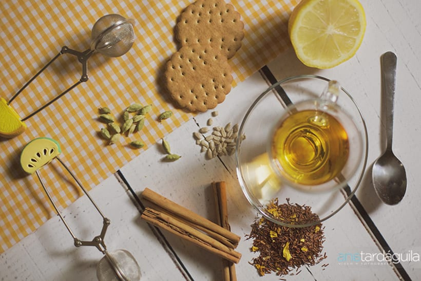 Fotografía de producto. Té de limón y canela y té de manzana y cardamomo -1