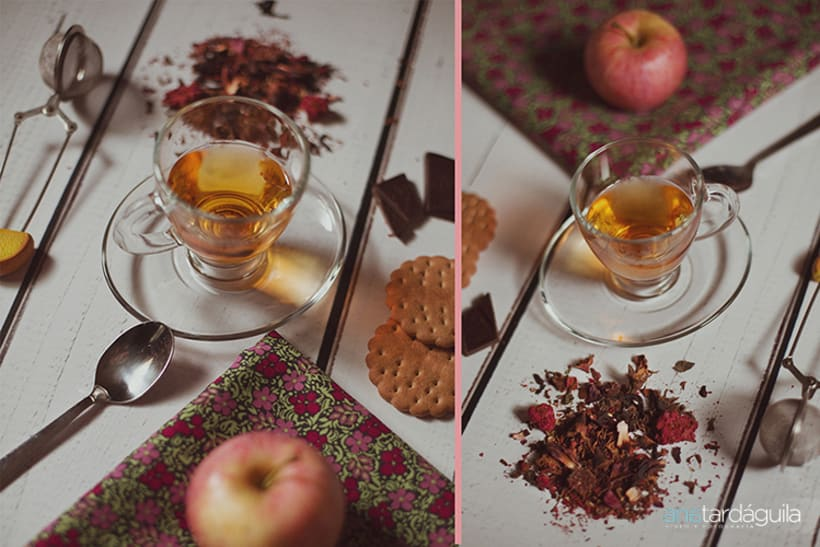 Fotografía de producto. Té de limón y canela y té de manzana y cardamomo 3
