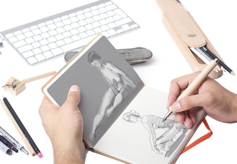 Ilustraciones a lápiz montadas en Mockups -1