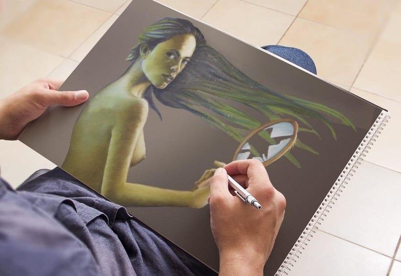 Ilustraciones a lápiz montadas en Mockups 0