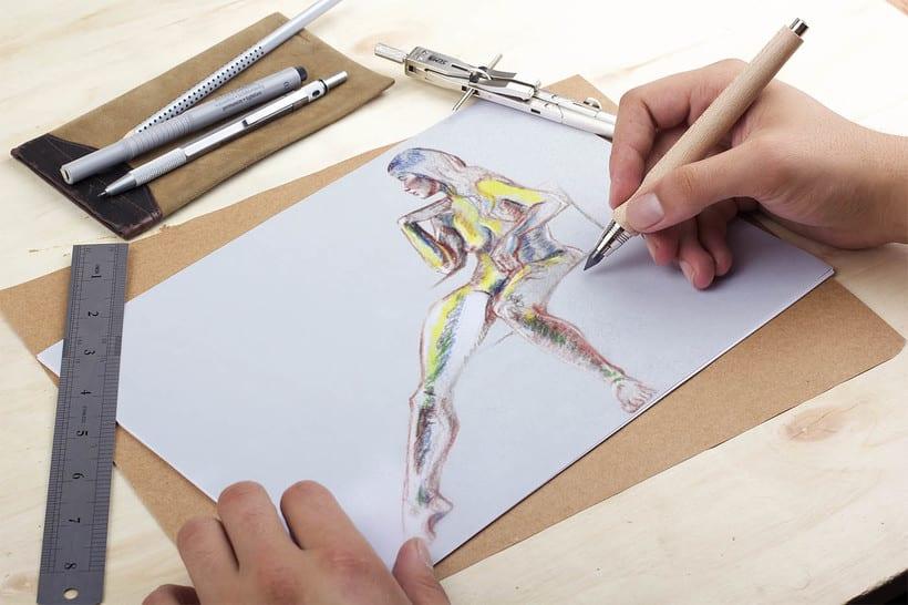 Ilustraciones a lápiz montadas en Mockups 1