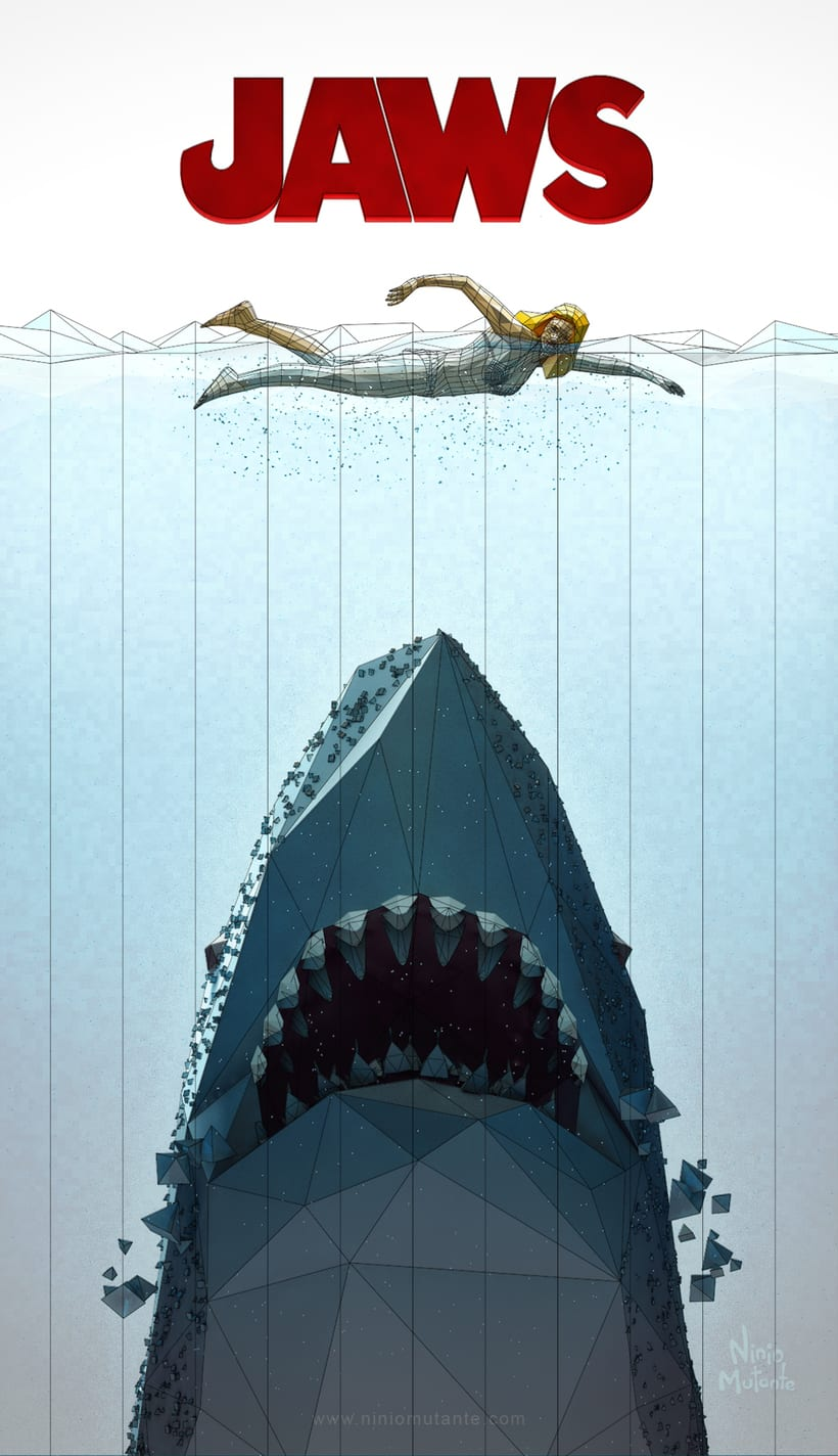 Poster JAWS Low Poly 1