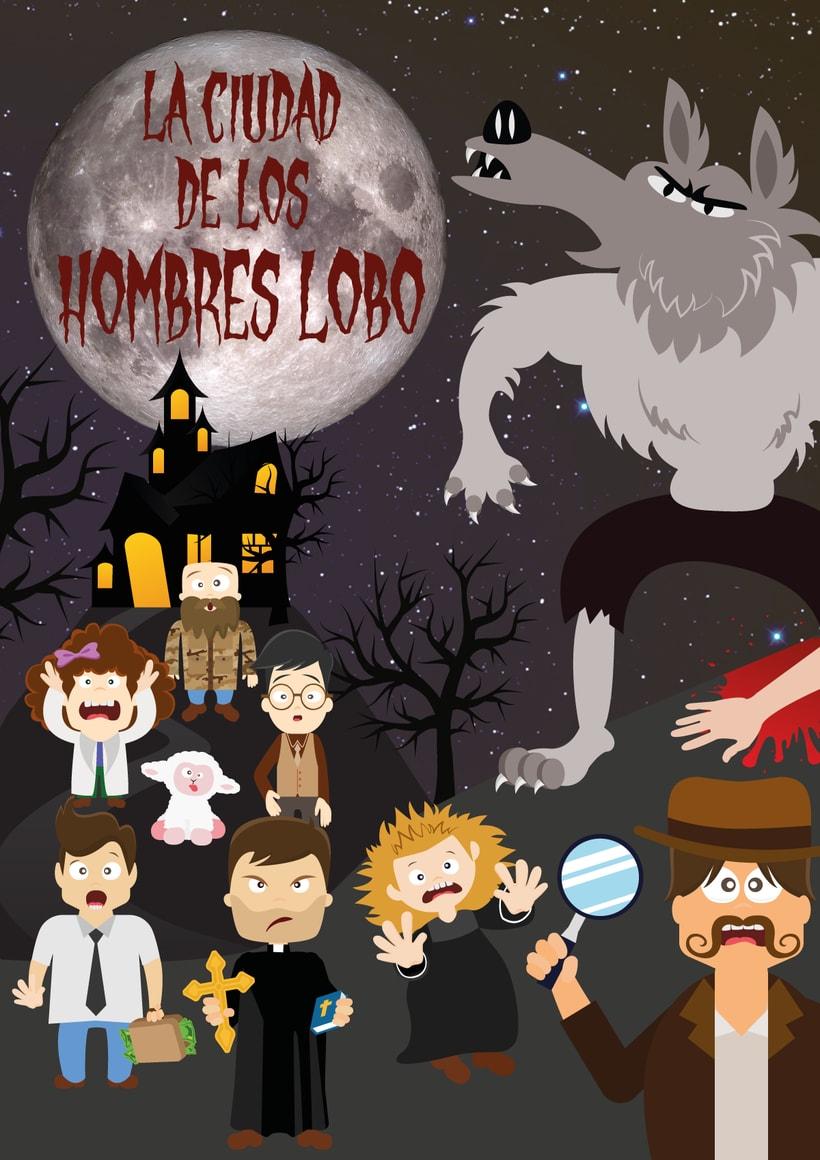 """Cartel para juego de rol en vivo """"La Ciudad De los Hombres Lobo"""" (Santa Fe - Granada 2015) -1"""