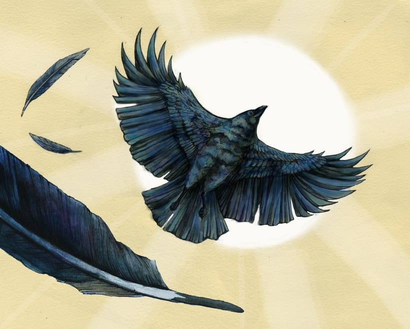 """Crow Brings the Daylight"". Book Illustration -1"