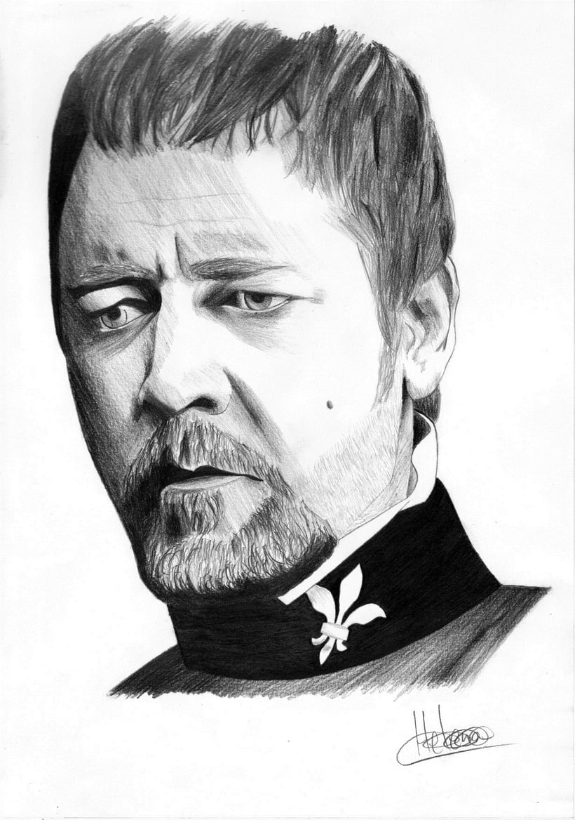 Retrato Russel Crowe como Javert (Les miserables) -1