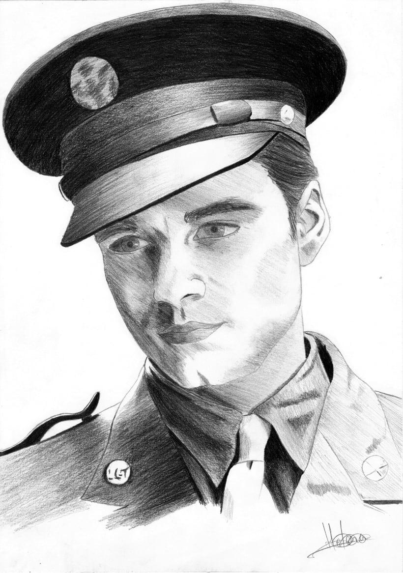 Retrato Sebastian Stan como Bucky Barnes (Capitán América: El primer vengador) -1