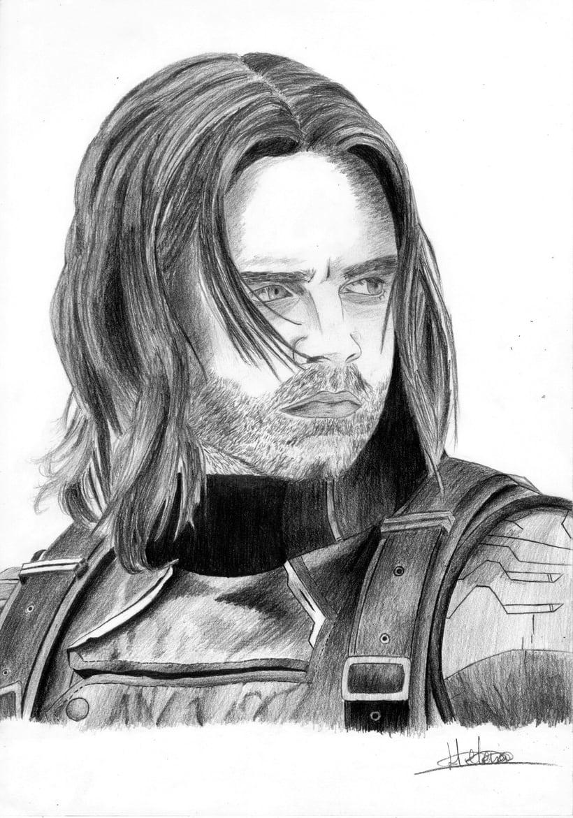 Retrato Sebastian Stan como Soldado de Invierno (Capitán América: El soldado de invierno) -1
