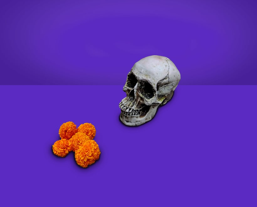 """Feliz día de muertos """"Y dentro de la cosecha de la muerte  de mis ojos nacerán flores y sueños, que serán mi alimento"""".  -1"""