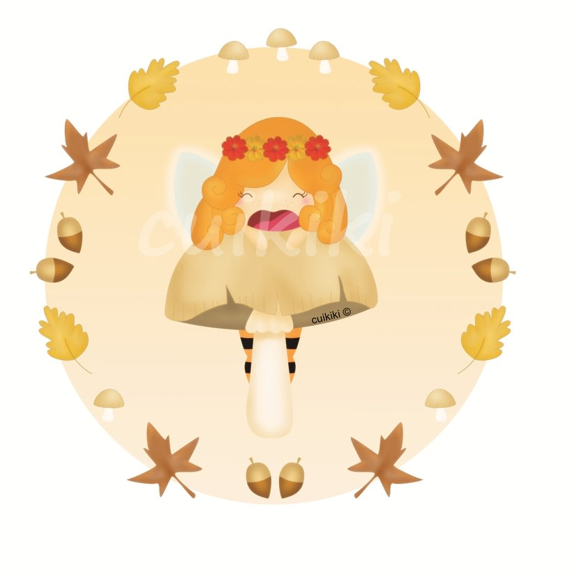 Alegría, el hada del otoño. Ilustración digital. -1
