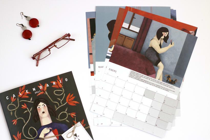 Calendario ilustrado con relato 'Amor Rojo' para 2017 2