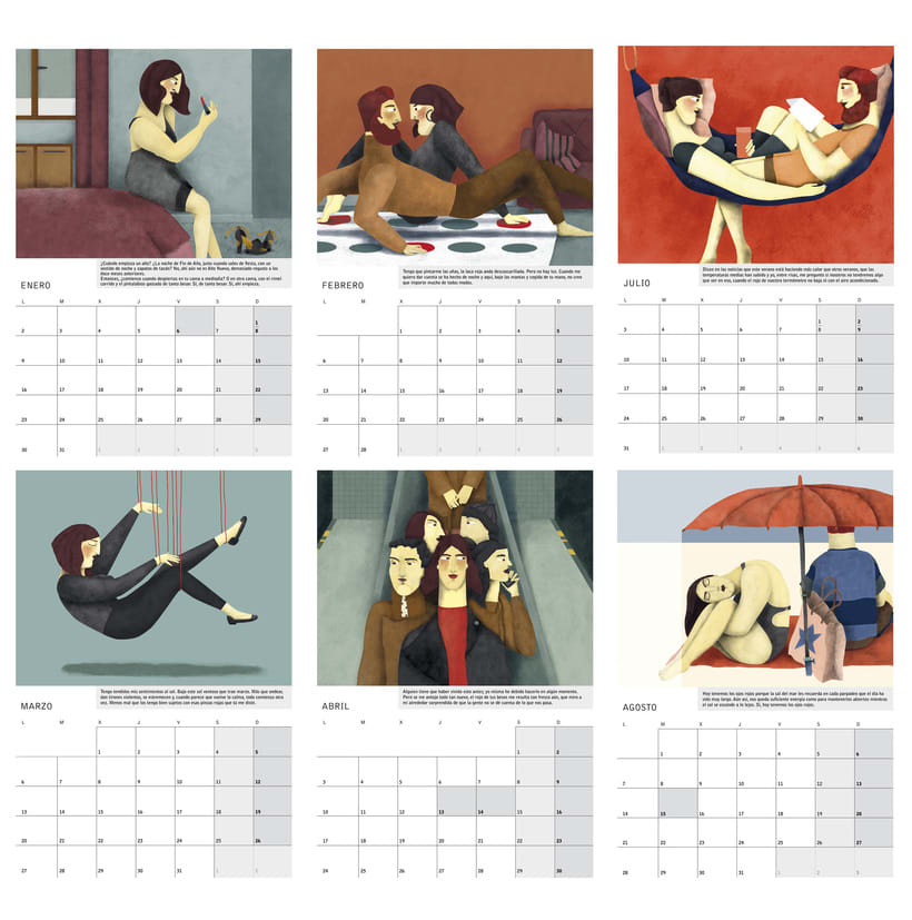 Calendario ilustrado con relato 'Amor Rojo' para 2017 3