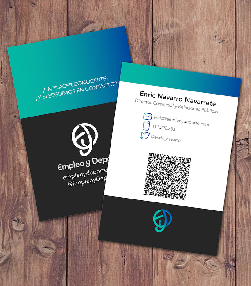 ¡Un placer conocerte! · Empleo y deporte Business Card 2