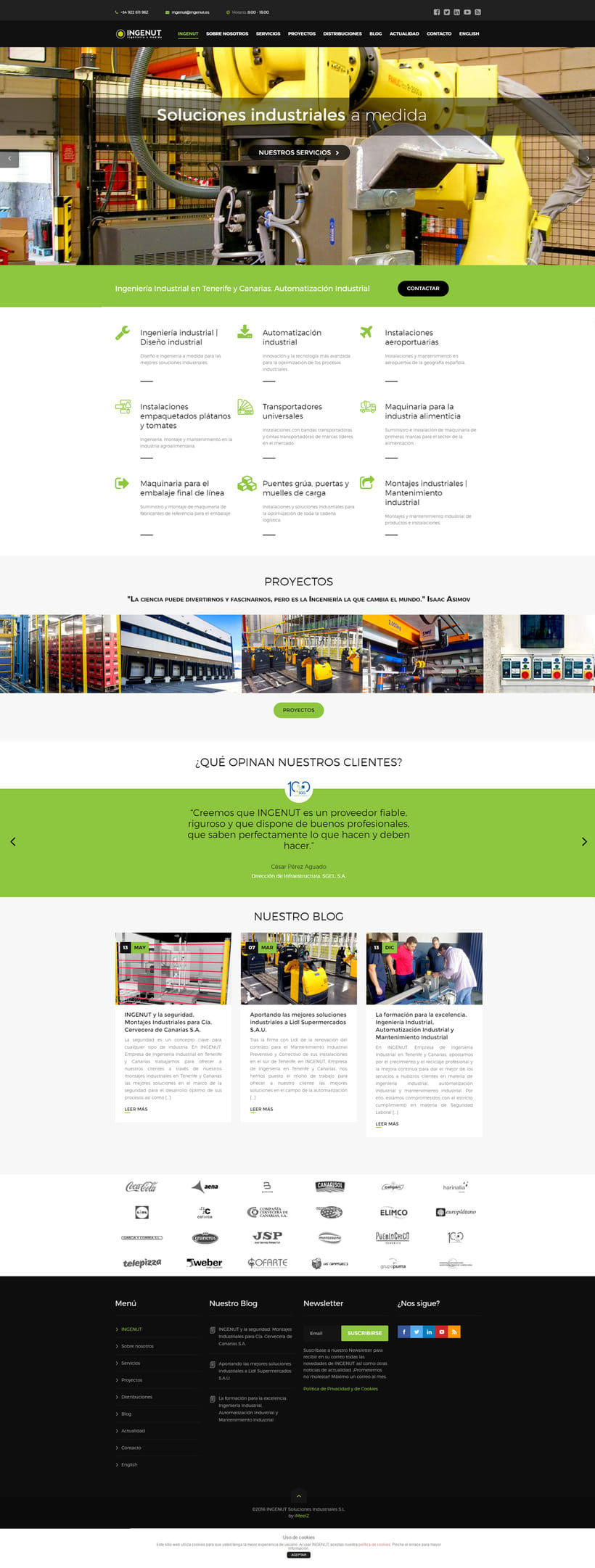 Web Design and Development INGENUT. Multilingual site. 3