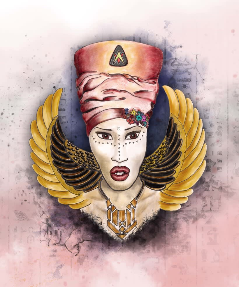 Cleopatra, ilustracion para proyecto personal, explorando técnicas y composición -1
