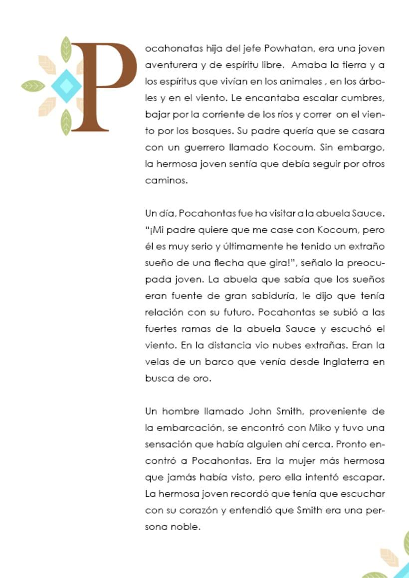 Diseño de letra capitular de cuento de Pocahontas -1