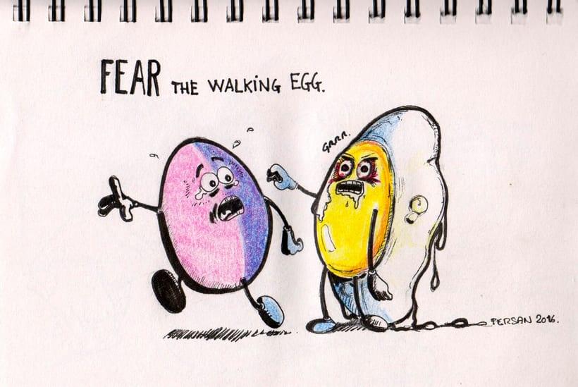 Sketch. Fear the walking egg. -1