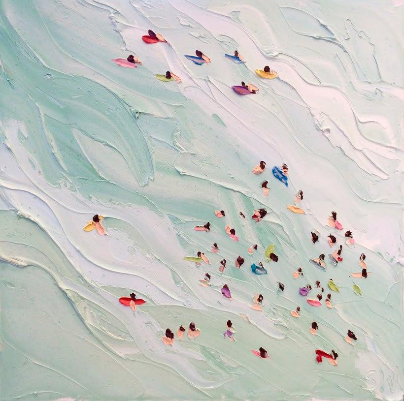 Escenas playeras al óleo por Sally West 1