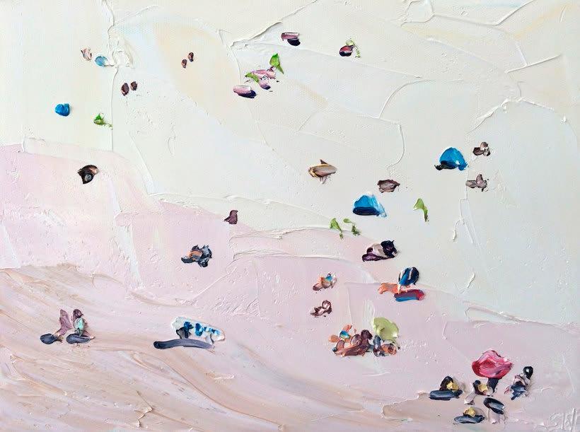 Escenas playeras al óleo por Sally West 4