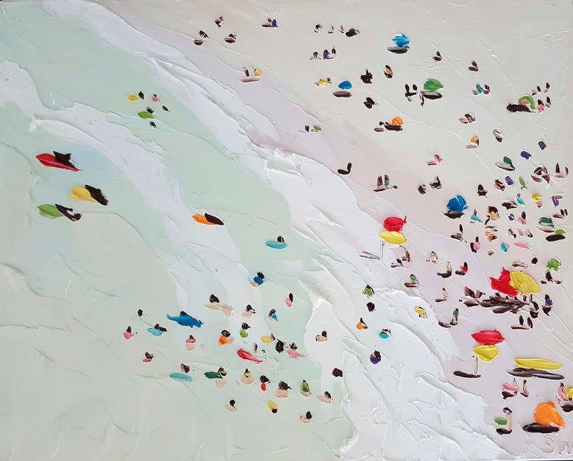 Escenas playeras al óleo por Sally West 11