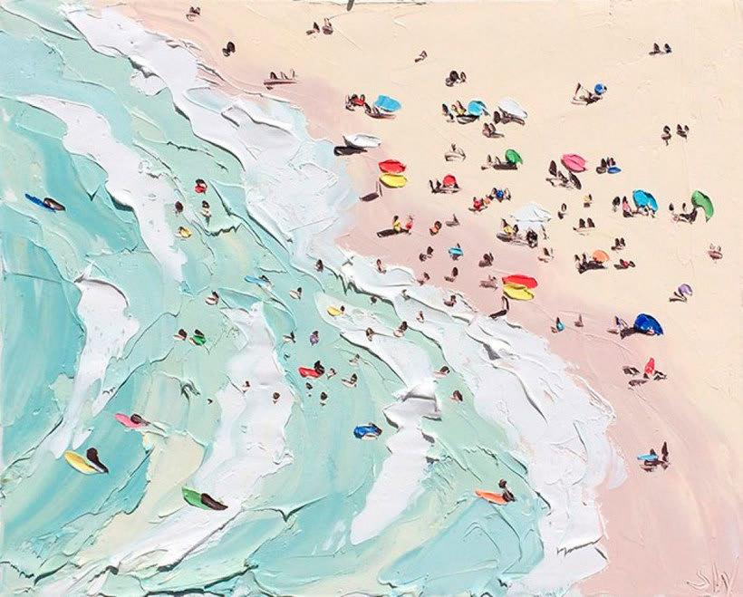 Escenas playeras al óleo por Sally West 2