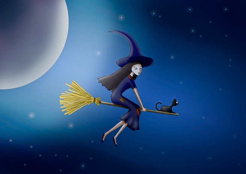 Ilustración digital: Witch and the moon -1