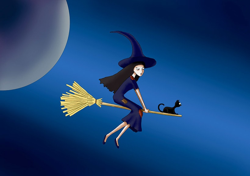 Ilustración digital: Witch and the moon 0