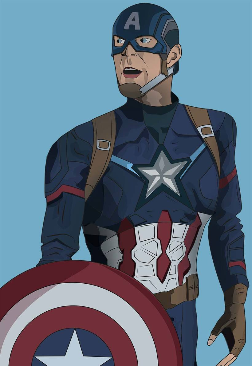 Ilustración digital: Captain America -1