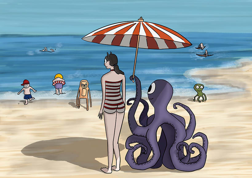 Ilustración digital: Girl on the beach (family monsters) -1