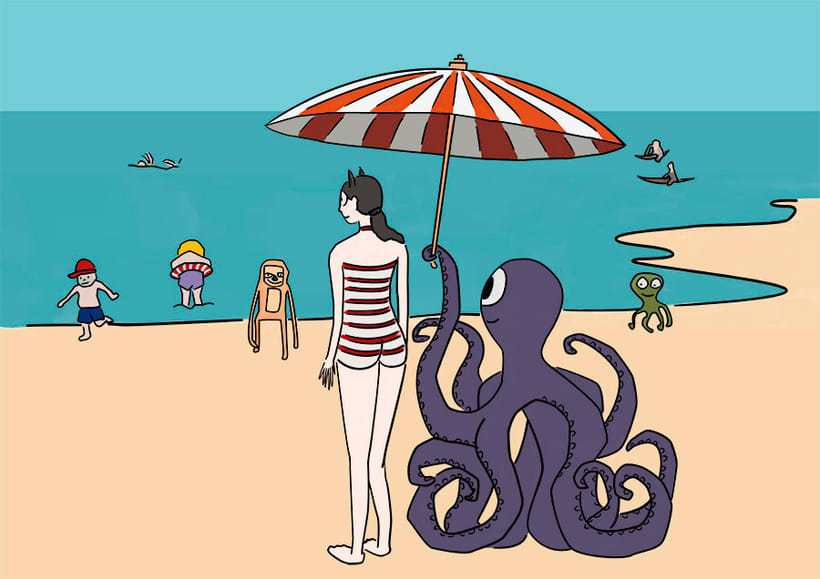 Ilustración digital: Girl on the beach (family monsters) 0