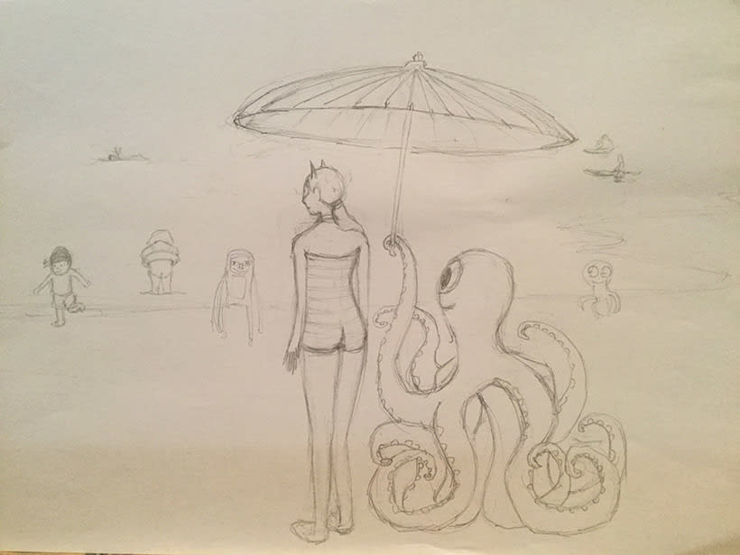 Ilustración digital: Girl on the beach (family monsters) 2