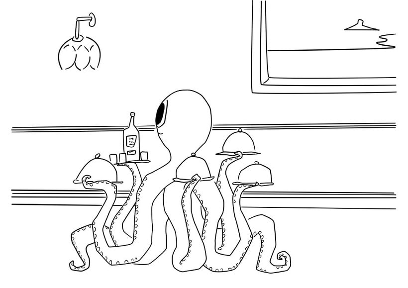 Ilustración digital: butler octopus (family monsters) 1