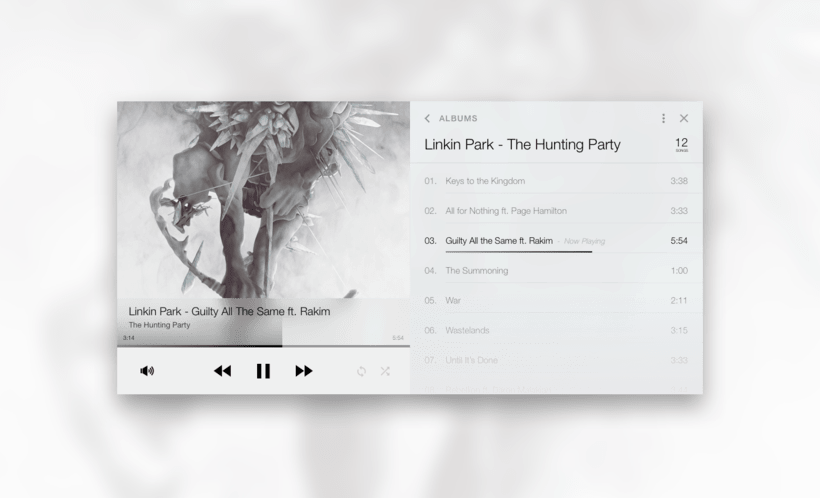 #DailyUI Challenge - #009 - Music Player -1