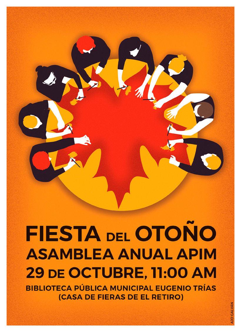 Cartel para la asamblea anual de la Asociación Profesional de Ilustradores de Madrid (APIM) -1