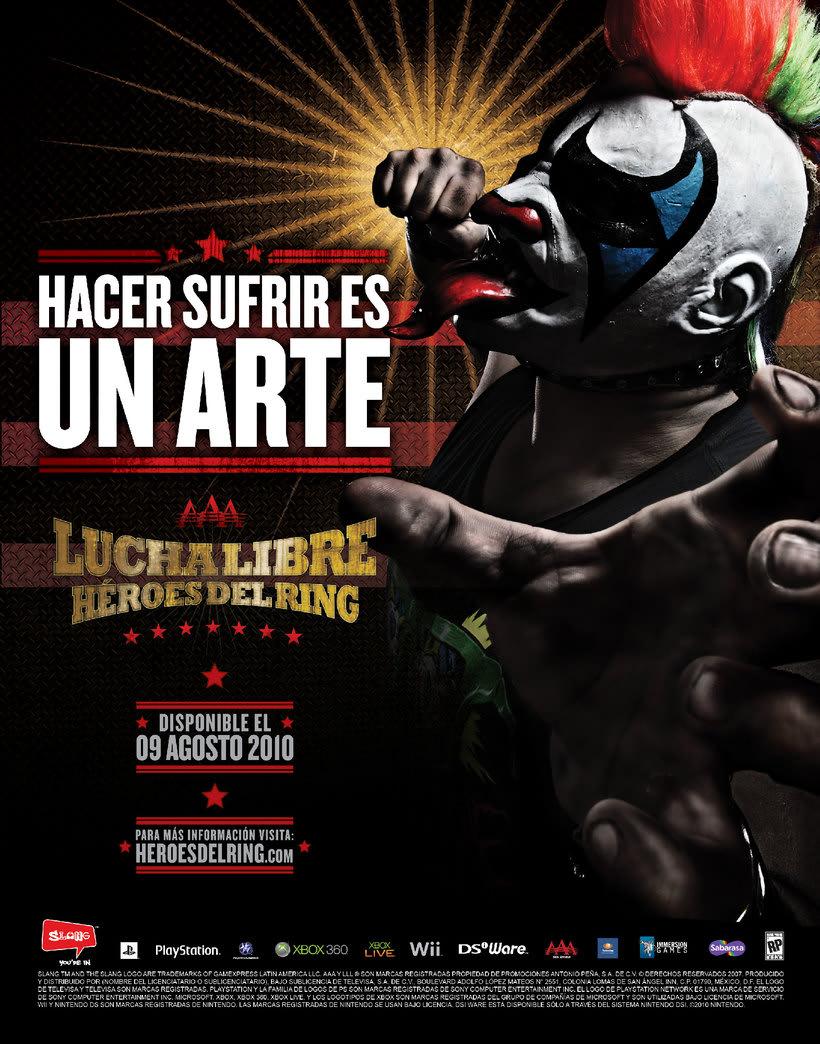 """AAA Héroes del Ring. Videojuego multiplataforma desarrollado por Slang, distribuido por Konami. Proyecto para Slang y The Vox Collective. Yo hice la parte gráfica, Edgar Muñoz """"Smash"""",  el concepto creativo y las cabezas; Víctor Ayala, fotografía. 3"""