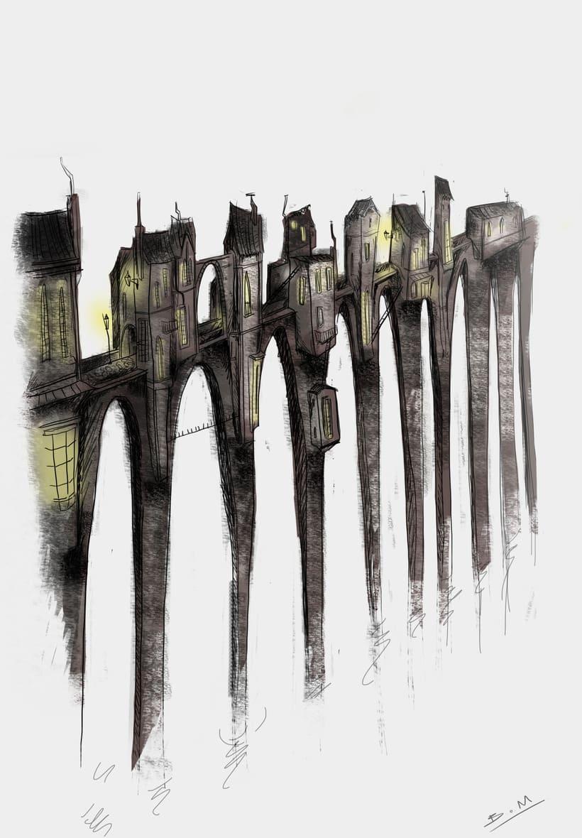 Mi ponte vecchio. Ilustración realizada como referencia para el modelo de un escenario en 3D maya. 0